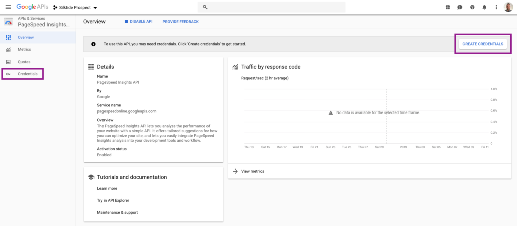 Create API credentials for Google's PageSpeed Insights API