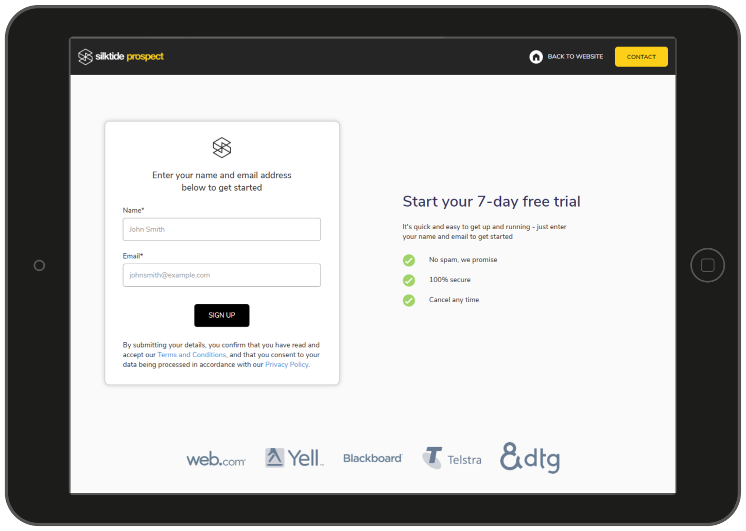 Sign up for a free 7-day trial of Silktide Prospect